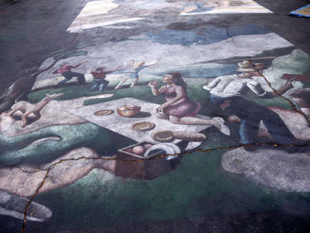 Pavement Art at the Spanish Mission at Santa Barbara California USA