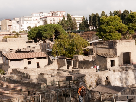 Herculaneum buried by eruption of Vesuvius in 79AD in Italy