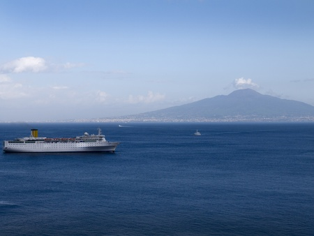 marquetry: View of the Volcano Mount Vesuvius and the Bay of Naples in Southern Italy