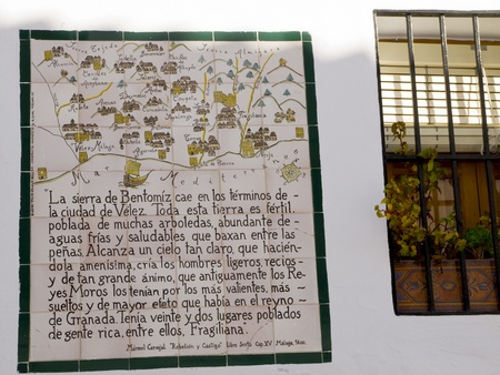 One of the old Ceramic Plaques telling the story of the Battle of Frigiliana in the Mountains of Andalucia in Spain