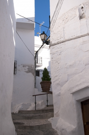 The narrow streets of Frigiliana one of the White Villages in Andalucia Spain