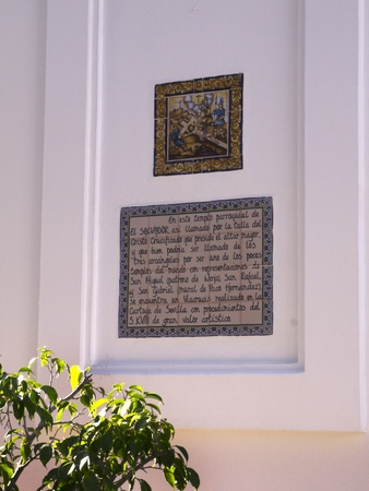 Plaque on the Wall of the El Salvador Church in Nerja Spain