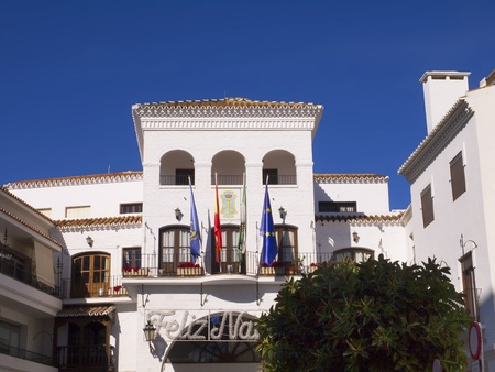 The town Hall with Christmas greeting in Nerja Spain