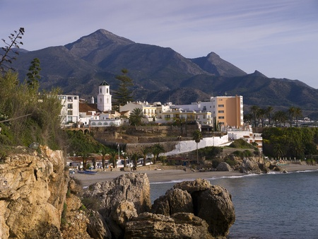 Nerja, a sleepy Spanish Holiday resort on the Costa Del Sol  near Malaga, Andalucia, Spain, Europe Stock Photo - 19368750