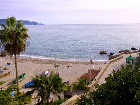 Beach scenes in Nerja, a sleepy Spanish Holiday resort on the Costa Del Sol  near Malaga, Andalucia, Spain, Europe Stock Photo - 19368728