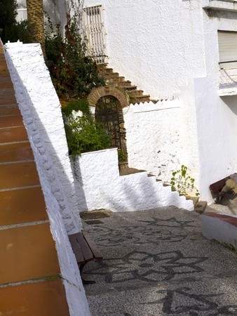 The narrow cobbled streets of Nerja in Andalucia Spain