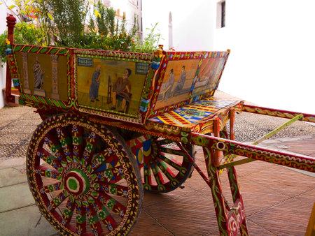 Sicilian Decorated Cart outside Italian Restaurant in Nerja Spain Stock Photo - 19368713