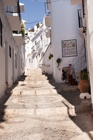 frigiliana: The narrow streets of Frigiliana one of the White Villages in Andalucia Spain