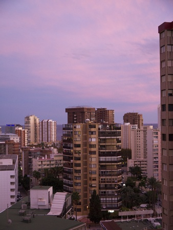 Evening falls on the Cityscape of Benidorm Spain Editorial