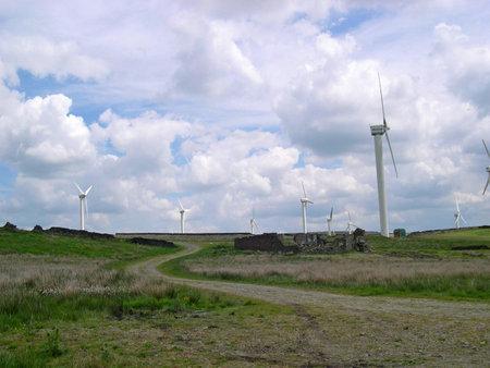 burnley: Wind Farm on the East Lancashire Moors above Burnley Lancashire England