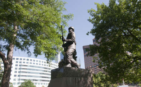 denver skyline with mountains: War Memorial in Denver Colorado USA Editorial