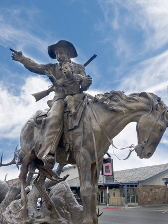 lawman: Cowboy Statue in Jackson Hole Wyoming USA