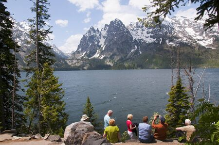 Jenny Lake in the Grand Tetons National Park in Northwest Wyoming USA