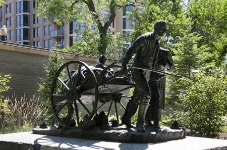 pioneers: The Mormon Handcart pioneers Statue in temple Square Salt Lake City Utah