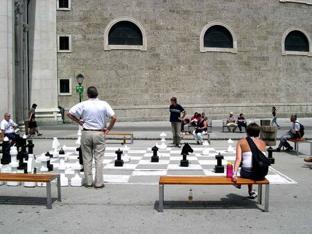 brenda kean: Playing Chess by the Cathedral in Salzburg Austria