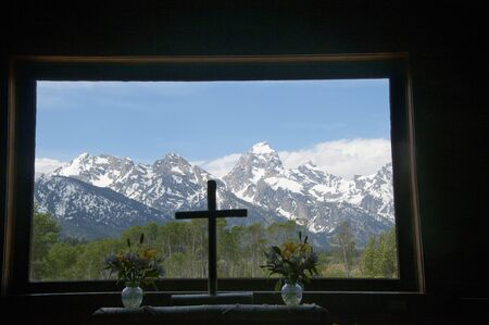 Chapel of the Transfiguration in the Grand Tetons National Park Wyoming USA Editorial