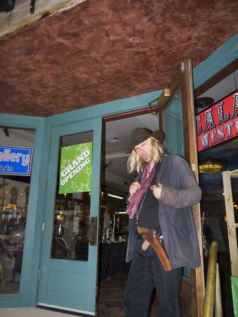 deadwood: Re-enactors of a Cowboy Shootout on Main Street Deadwood South Dakota USA Editorial