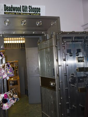 Gift shop in former bank with huge safe in Deadwood South Dakota USA