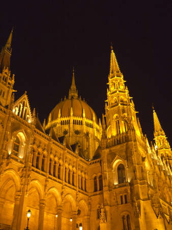 Floodlit Houses of Parliament at night in Budapest Hungary