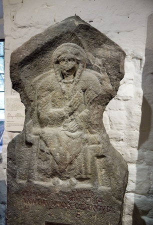 wharfedale: Roman Altar in Ilkley Yorkshire Editorial