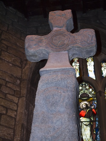 wharfedale: Saxon Cross in All Saints Church in Ilkley North Yorkshire Editorial
