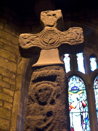 Saxon Cross in All Saints Church in Ilkley North Yorkshire