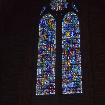 merseyside: Vetrata nella cattedrale anglicana di Liverpool Merseyside
