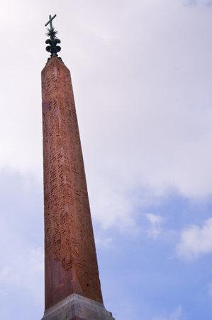 spanish steps: The  Obelisk at the Trinita dei Monte Church at the top of the Spanish Steps Rome Italy