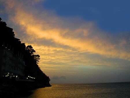 marquetry: Sunset over Marina Grande in Sorrento Italy