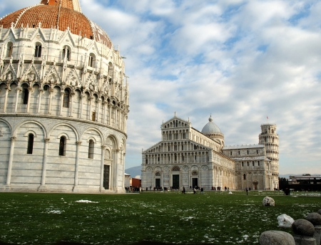 Pisa in Italy was much damaged by bombing in WW2 however one area was spared- the Field of Miracles. This area contains three of the most wonderful buildings in the World.