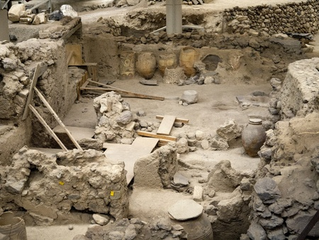 thera: Archaeological site of Thera at Akrotiri on the island of Santorini Greece. Editorial