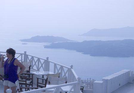 messa: Twilight falls over the Winery near Fira on the island of Santorini Greece