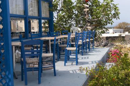 messa: Cafe near Messa Gornia on the Island of Santorini Greece