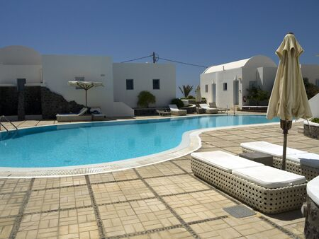 fira: Hotel at Fira on the island of Santorini Greece Editorial