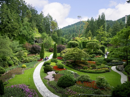 flower garden path: Floral display in Butchart Gardens near Victoria on Vancouver Island in British Columbia in Canada Editorial