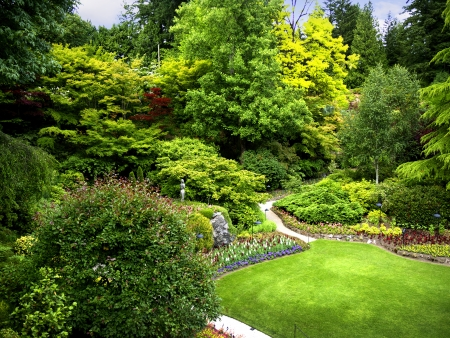 Floral display in Butchart Gardens near Victoria on Vancouver Island in British Columbia in Canada Editorial