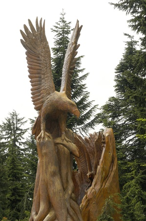 Chainsaw wooden Sculptures on Grouse Mountain at Vancouver in British Columbia