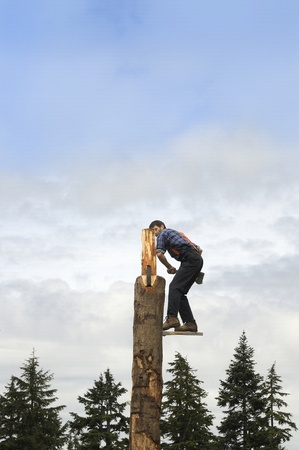 Lumberjack on Grouse Mountain in Vancover British Columbia Canada