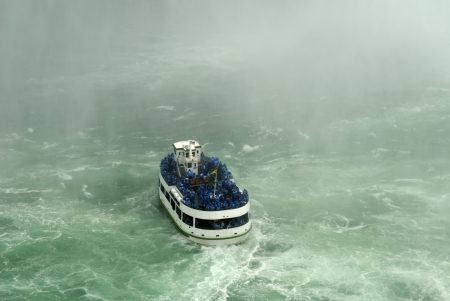 Maid of the Mist boat negotiates the Niagara Falls in Canada