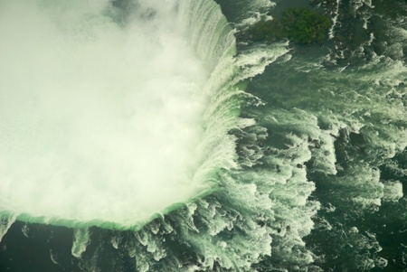 this is a view of the Horseshoe Falls at Niagara and gives an indication of the might and majesty of the falls from the Canadian side of the falls