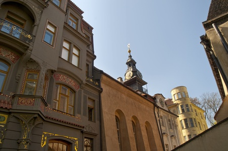 Buildings in the Jewish Quarter of Prague in the Czech Republic