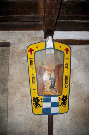 Heraldic Shields in building in Golden Lane Prague in the Czech Republic
