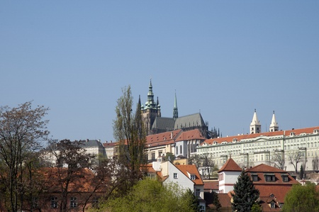 St Vitus Cathedral and the Castle in Prague viewed from the River Vltava