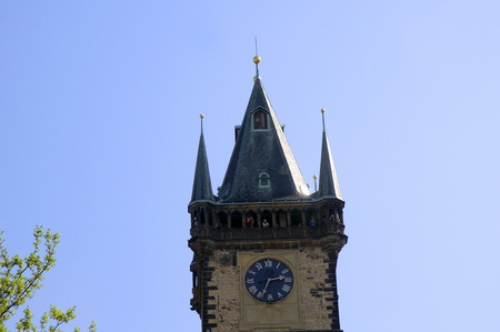 The tower of the Astronomical Clock in the Old Town of Prague, Czech Republic