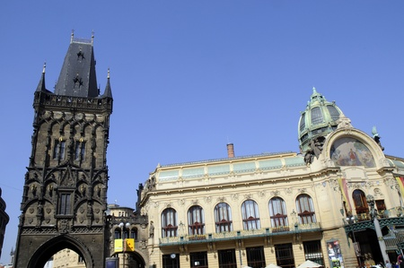 The Powder Tower and the Municipal Hall in Prague, capital of the Czech Republic