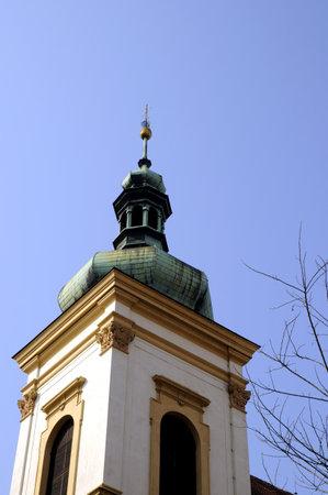 Onion Towered church in Prague In the Czech Republic