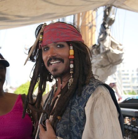 Re-enactor Pirate on the Tall Sailing Ships in Harbour of San Diego California USA
