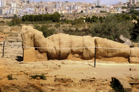 Huge statue of Man lying in the Temple of Zeus at Agricento Sicily Italy