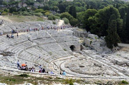 greco roman: Amphitheatre in Siracusa Sicily.The Greek Theatre in the Neopolis Archaeologicral Zone of Syracuse(Siracusa) Sicily Italy