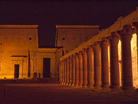 pharoah: Son et Lumiere performance at the Temple complex at Philae Island on the River Nile in Eygpt Editorial